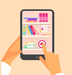 online reading and e book in hands mobile devices vector image