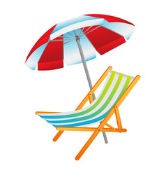 Opened sun umbrella and deckchair vector