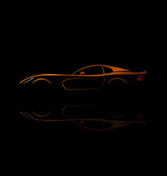 Orange sport car silhouette with reflection vector