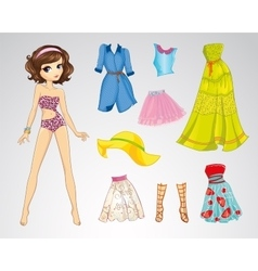 Paper Brown Short Hair Doll vector