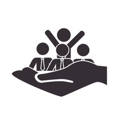People silhouette teamwork icon vector