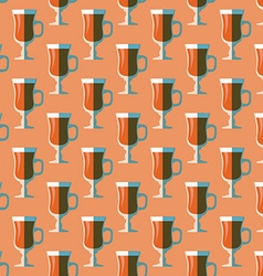 Pop art mulled wine glass seamless pattern vector