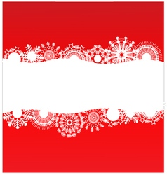 Red background with white snowflakes vector