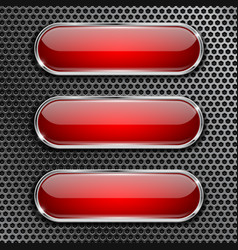Red oval glass buttons on metal perforated vector