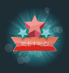 Retro sign with stars on beams background vector