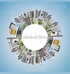 salvador de bahia city skyline with color vector image