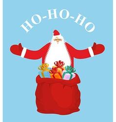 Santa Claus and gift bag HO-HO-HO Jolly Santa vector