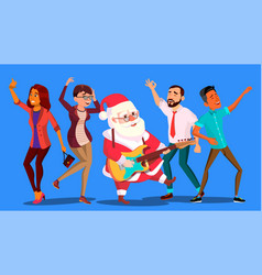 Santa claus dancing with group of people and vector