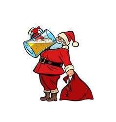 santa claus drinking beer christmas and new year vector image