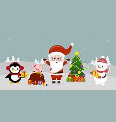 santa claus in glasses stands at the christmas vector image