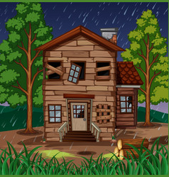 scene with wooden house with broken windows vector image