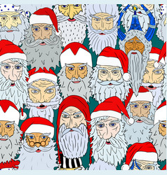 Seamless christmas pattern of santa claus heads vector