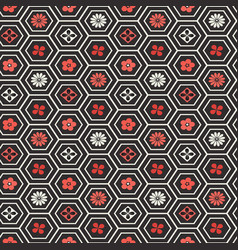 seamless pattern flower honeycomb cells vector image