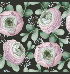 Seamless pattern with delicate ranunculus vector