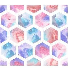 seamless pattern with watercolor hexagons vector image