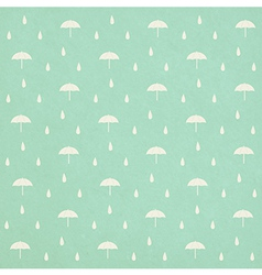 Seamless raindrops pattern with umbrella on paper vector
