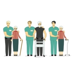 Senior patients doctors and volunteers vector