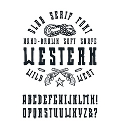Serif font in the western style vector