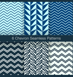 Set of 6 chevron seamless patterns navy color vector