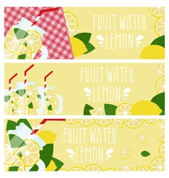 Set of banners with bright fruit water in mason vector image
