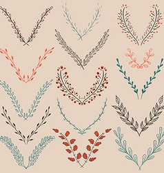 Set of Graphic Floral Design Elements vector image