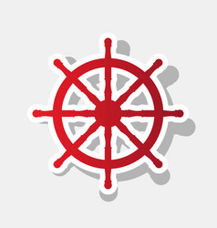 ship wheel sign new year reddish icon vector image