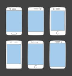 smartphone icon set isolated on black background vector image