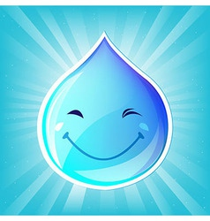 Smiling Drop Of Water And Sunburst vector image