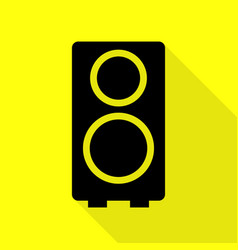 speaker sign black icon with flat vector image