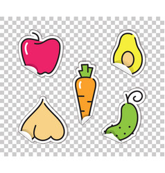 Stickers with images of vegetables avocado vector