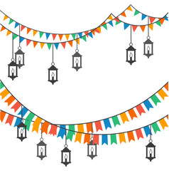 Street decoration flags and lanterns vector