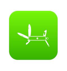 Swiss multipurpose knife icon digital green vector