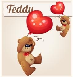 Teddy bear with heart balloon vector image
