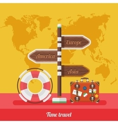Travel Concept Stylish Background with World Map vector image