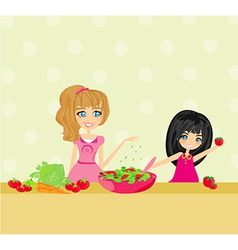 Two smiling kids mixing salad vector image