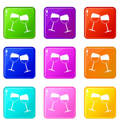 Two wine glasses icons 9 set vector