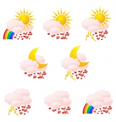 Valentine's weather icons vector image