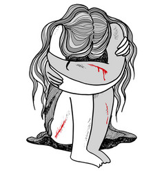 Violence against women concept vector