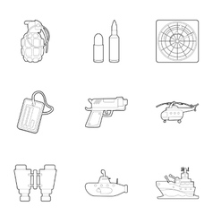 Weapons icons set outline style vector