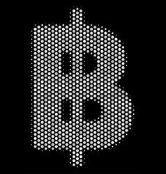 White pixelated baht icon vector