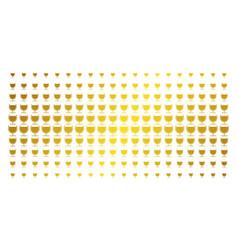 wine glass golden halftone grid vector image