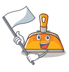 With flag dustpan character cartoon style vector
