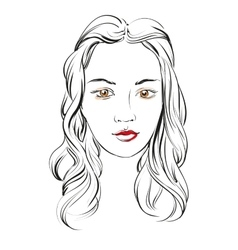 beautiful woman face hand drawn llustration vector image vector image