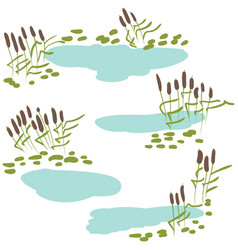 reeds with pond icon set vector image vector image