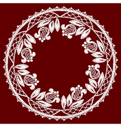 Round openwork lace border Realistic vector image vector image