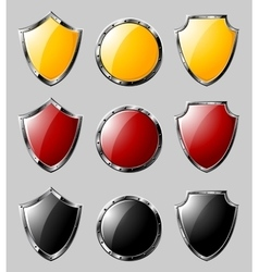 Set of steel shields vector image vector image