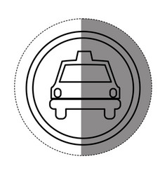 silhouette symbol taxi front car icon vector image