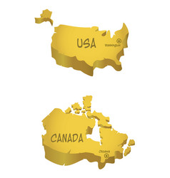 usa and canada maps vector image vector image