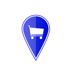 blue map pointer with shopping cart vector image