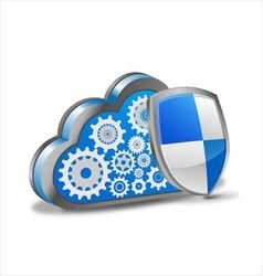 Cloud computing with security shield vector image vector image